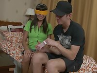Blindfolded brunette Erica seduced for an amazing shagging game