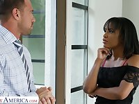 Slutty black wife Demi Sutra seduces best friend of her husband Johnny Castle