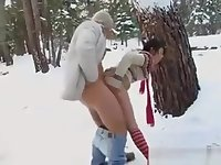 Horny Teen Fucking Outside In The Snow