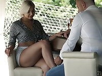 Unforgettable footjob by stunning blond babe with sexy legs Nicole Brix