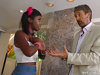 Cute ebony hottie Daizy Cooper desires to work on two boner cocks