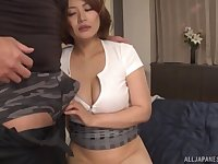 After fingering and dick eating Asian girl wants to jump on a penis