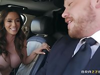 Ariella Ferrera with big tits gets her pussy pounded by her driver