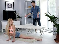 Flexible blonde Lisa stretches out in shorts before a fuck