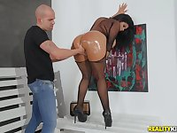 Buxom oiled up Latina Sheila Ortega bounces her round ass hardcore