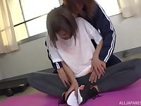 Sporty Japanese in pantyhose Harusaki Ryou fucked after a workout