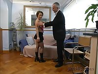 Big ass babe in fishnets Andrea pounded by an older guy