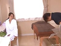 Asian MILF oiled up before a massage and a blowjob