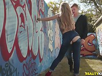 Hardcore outdoor fuck with trendy blonde bombshell Kali Roses