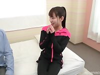 Sporty Japanese amateur brunette missionary fucked in a bra