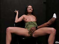 Petite teen cutie Adria Rae gets cum from a big black glory hole cock