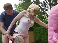 Outdoor doggy style fuck with tattooed blonde teen Enowa