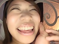 Busty Japanese petite cutie pussy fingered and fucked doggy style