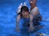 Japanese sporty babe Kumakura Shouko fucks after taking a swim