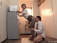 Japanese MILF in pantyhose Kase Kanako oils up and teases a cock