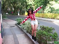 Latina MILF Matilda Ramos swallows stranger's cumshot outdoors