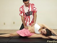 extreme flexible teen lucy doll gets stretched in crazy contortion positions and big dildo toyed