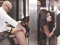Sneaky GIRLFRIEND cuckold with her humungous-dicked chief in an elevator