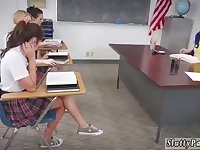 Sloppy minded students are having gang romp in the classroom, in the middle of the day