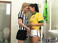 Super hot blonde Brazilian player romping the referee