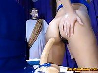 Hot slut rides dildo, with creampie!