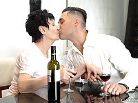 Young gigolo fucks mouth and pussy of naughty grannie Anastasia