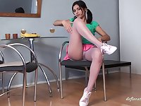 Russian babe Nastya Raspuzastya in miniskir playing with her snatch