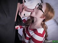 Halloween party with nerdy redhead Cleo Clementine ends up with BJ