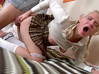 Balls deep ass drilling with adorable blonde Carol in miniskirt