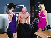 Balls deep threesome on the table with Alana Evans and Veronica Avluv