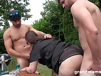 Rich bossy mature slut having a threesome with her boy toys