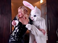Slim babe rides the big bunny dick in a crazy play