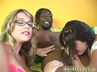 Hard black cock is enough to please Katie Thomas and another girl at once